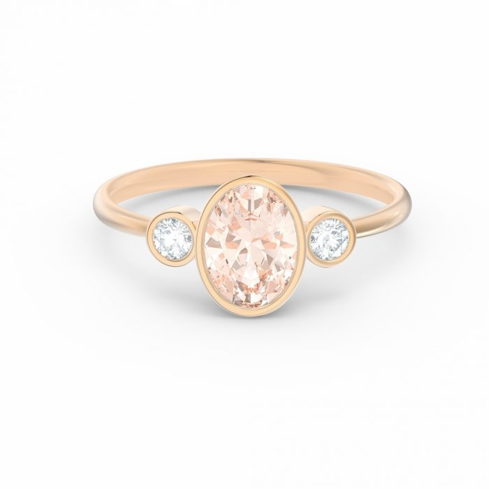melina peach sapphire engagement ring