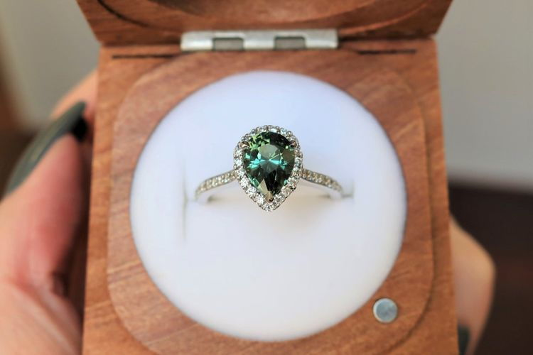 Pear teal sapphire engagement ring