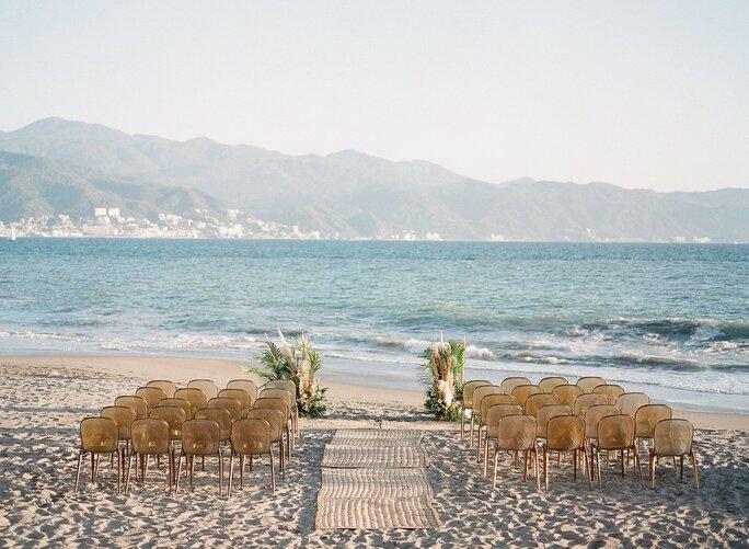 Beach wedding at Casa Velas