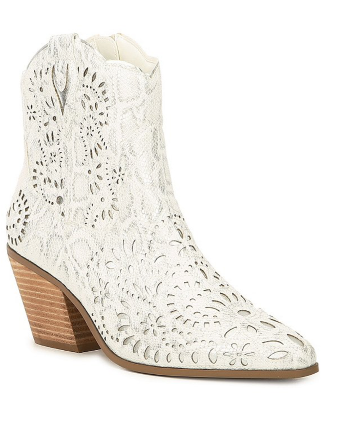 Betsey Johnson Mozart Metallic Leather Cut-Out Western Booties