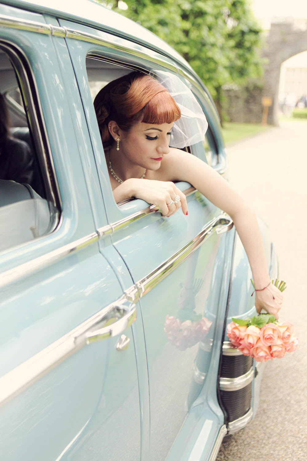 Pose Of Close-up Bridal Features Inside A Classic Car