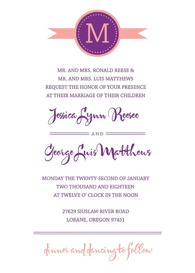 Monogram program from Wedding Chicks