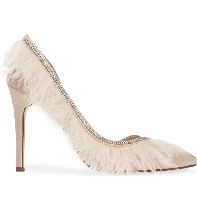 Nina Crystal Embellished Feather Pointed-Toe Pump