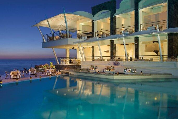 Pool view from the Oceana restaurant at Secrets Vallarta Bay
