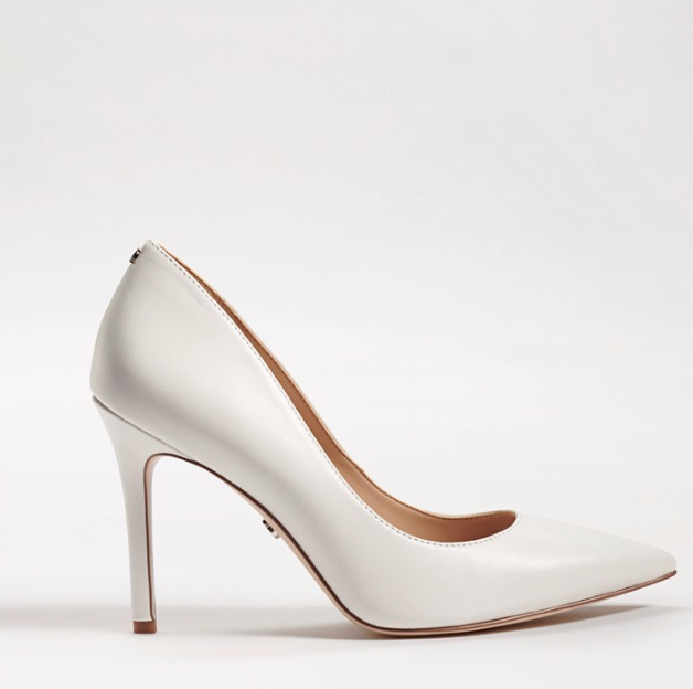 Sam Edelman Pointed Toe White Leather Pumps