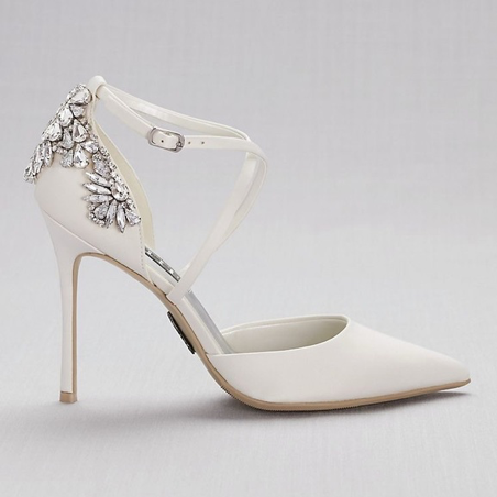 White by Vera Wang Pointed-Toe Cross-Strap Heels