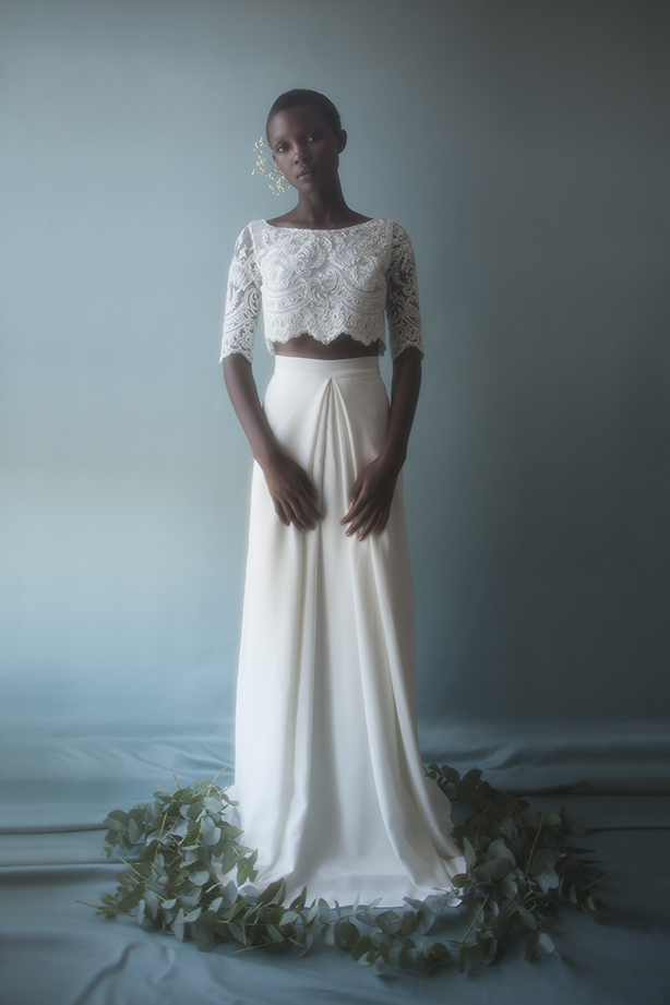 Long-sleeved lace gown by Violette Tannenbaum