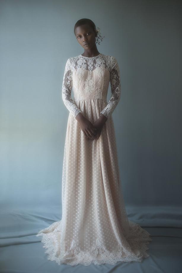 Lace crop top gown by Violette Tannenbaum