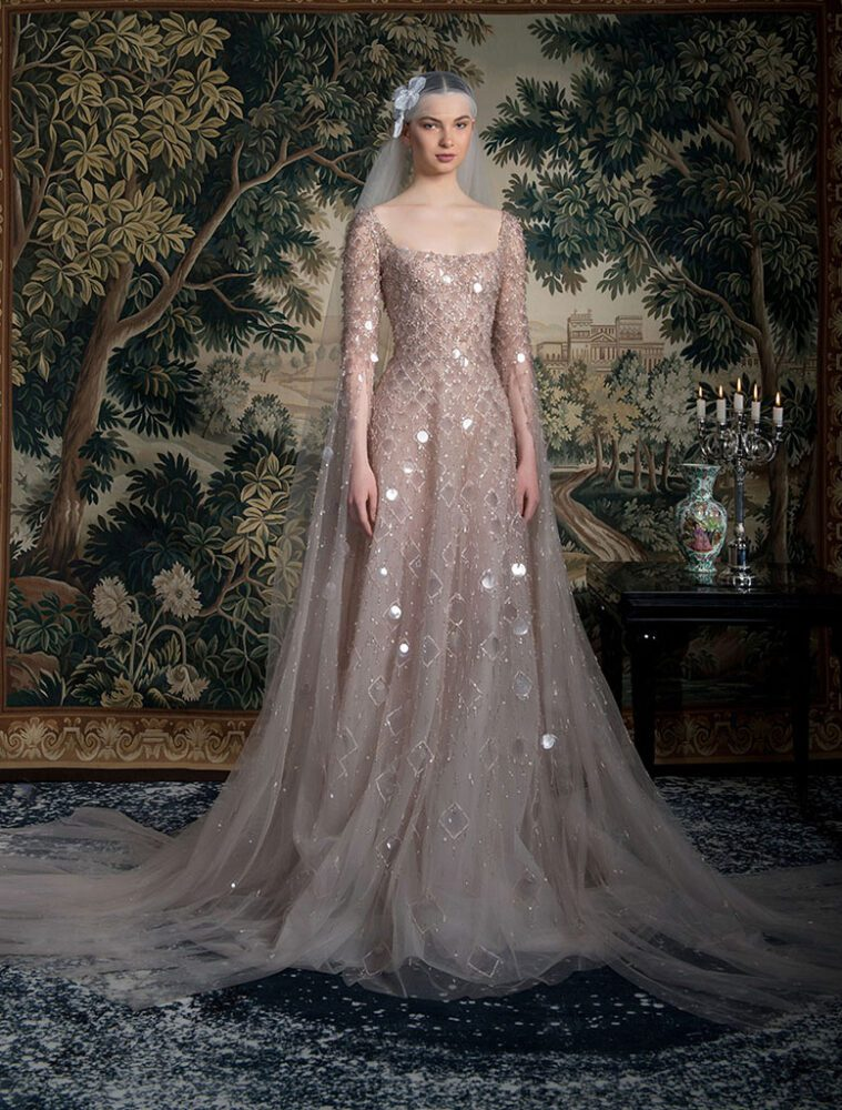 Shimmery long-sleeve gown by Georges Hobeika