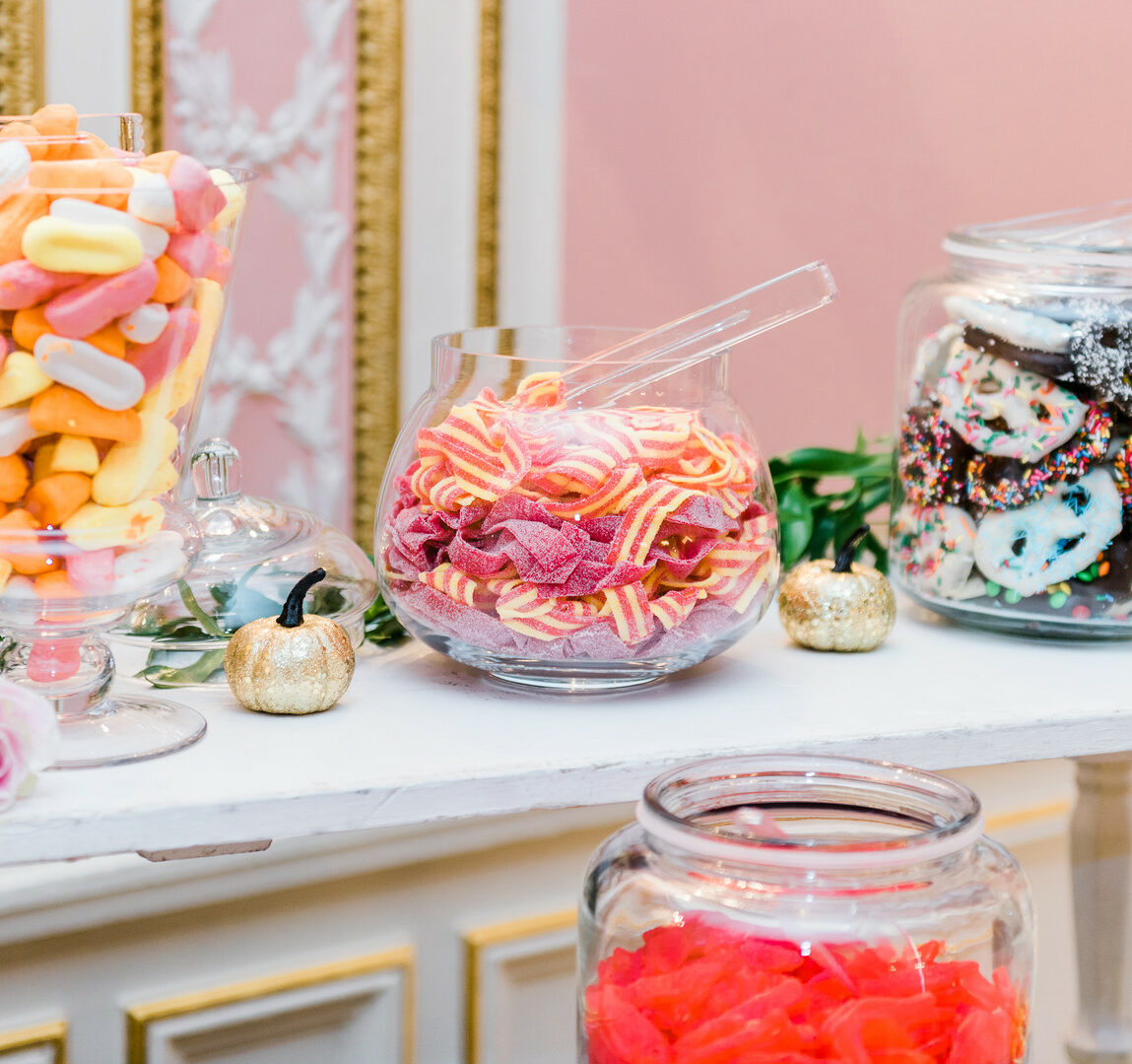 Wedding cake alternative sweets and candy bar.