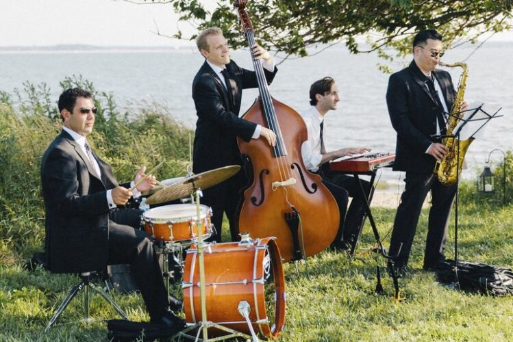 outdoor wedding ceremony musicians