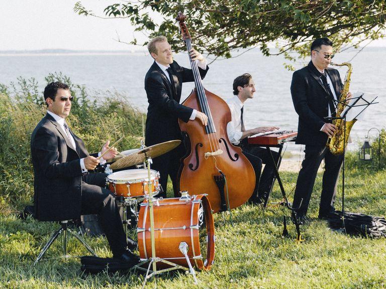 outdoor wedding ceremony musicians