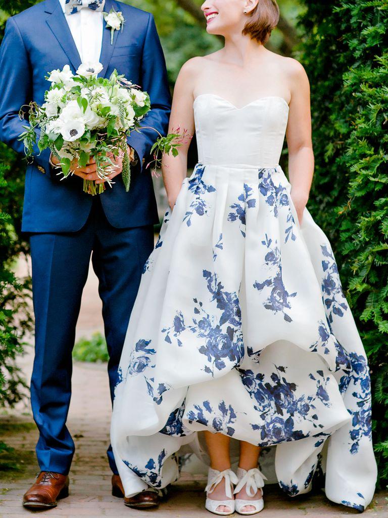 blue wedding dress and tux