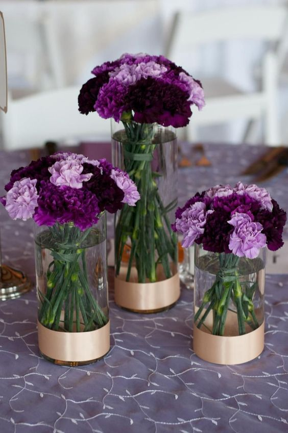 purple wedding table with flowers
