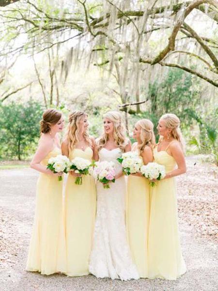 butter yellow bridesmaids dresses