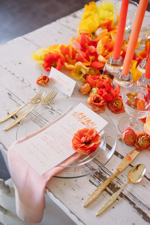 orange and yellow wedding table spread