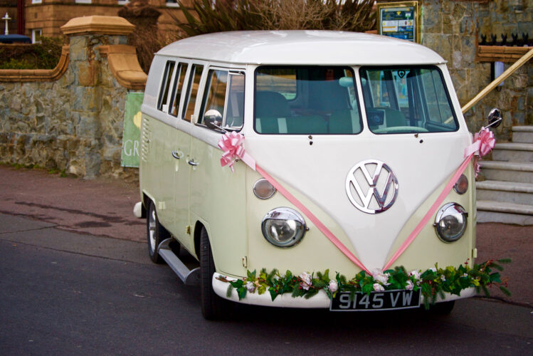 VW bus wedding day transportation
