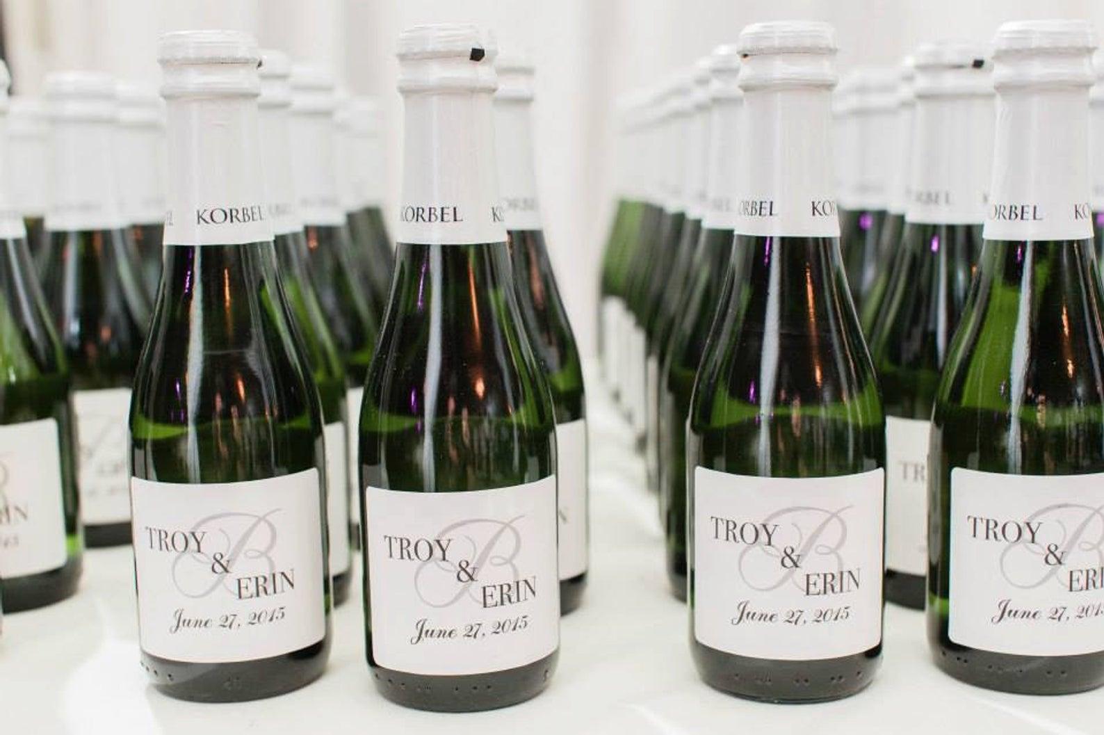 Mini Champagne Bottle Labels from Beckon Joy