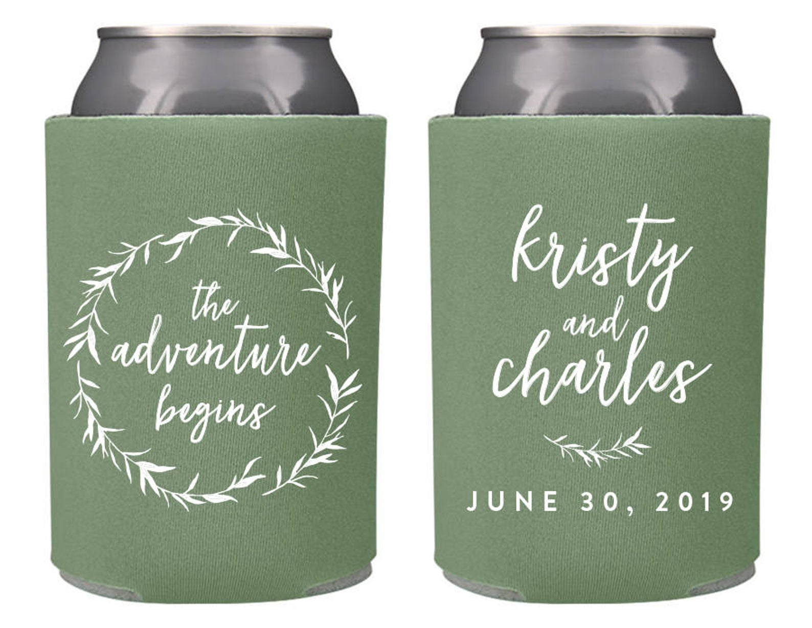 Custom Wedding Can Coolers from Splendid Sips