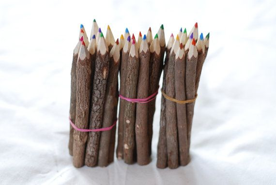 set of colored pencils wedding favors