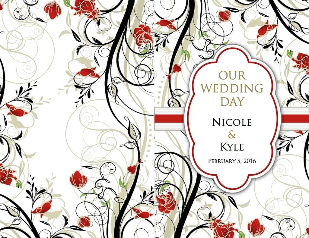 red flourish wedding program template