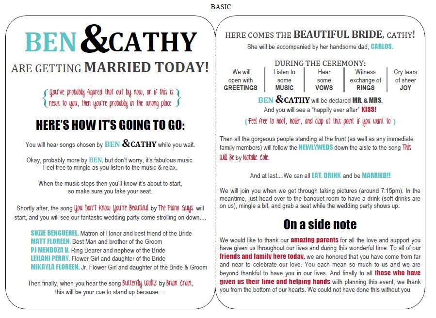 modern wedding program template