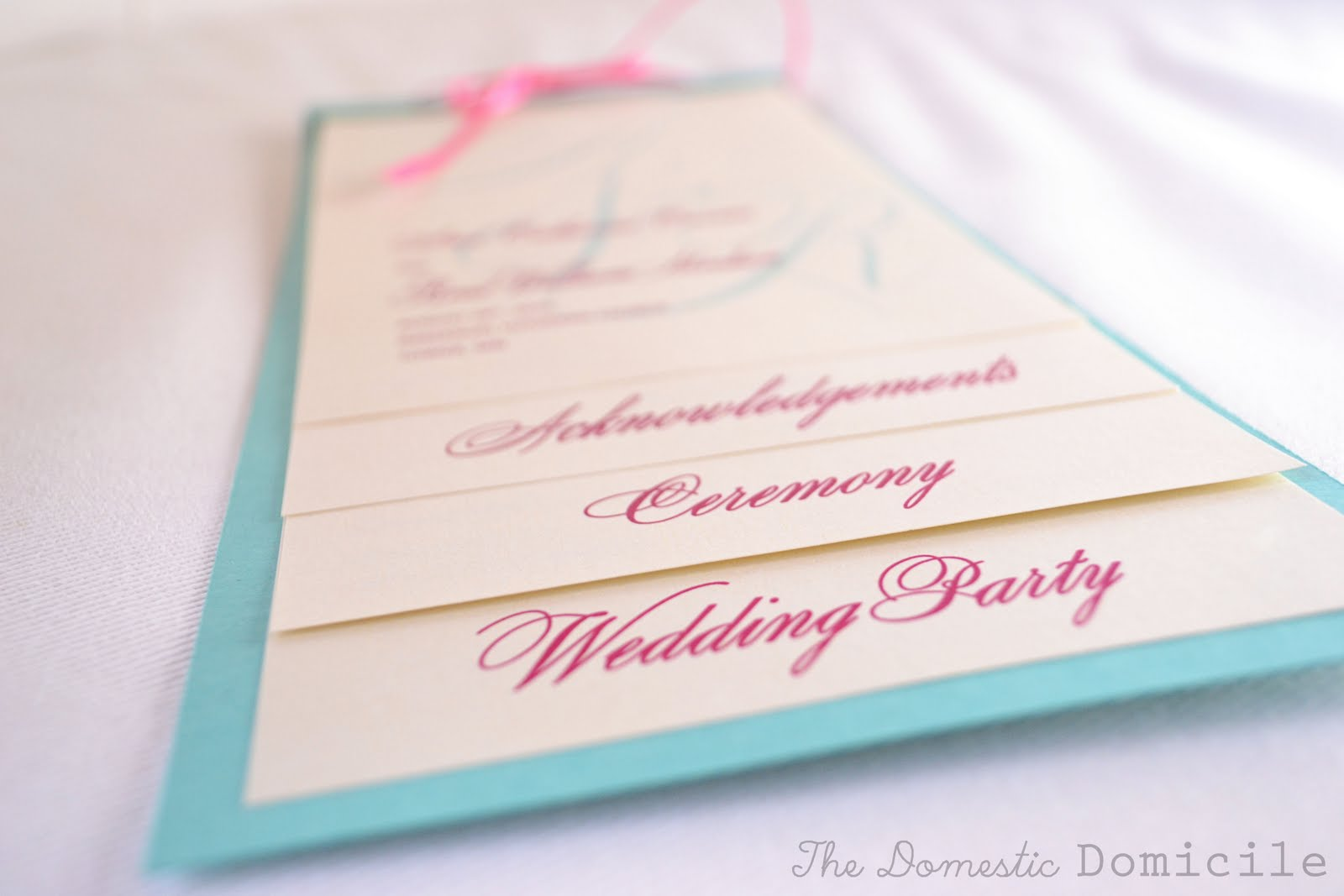 pink and blue wedding program template