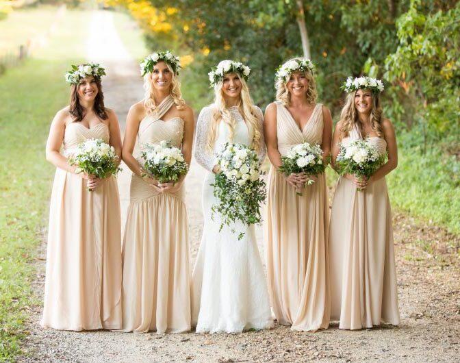 wedding bridesmaids organic neutral
