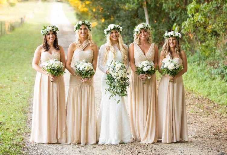 wedding bridesmaids organic neutral