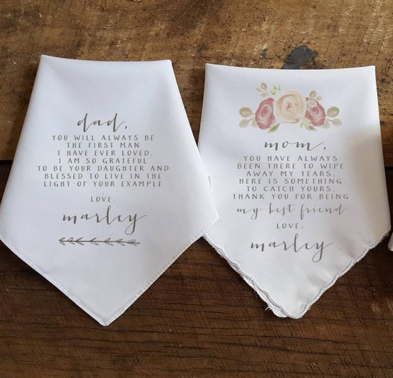 personalized hankies wedding thank you gift