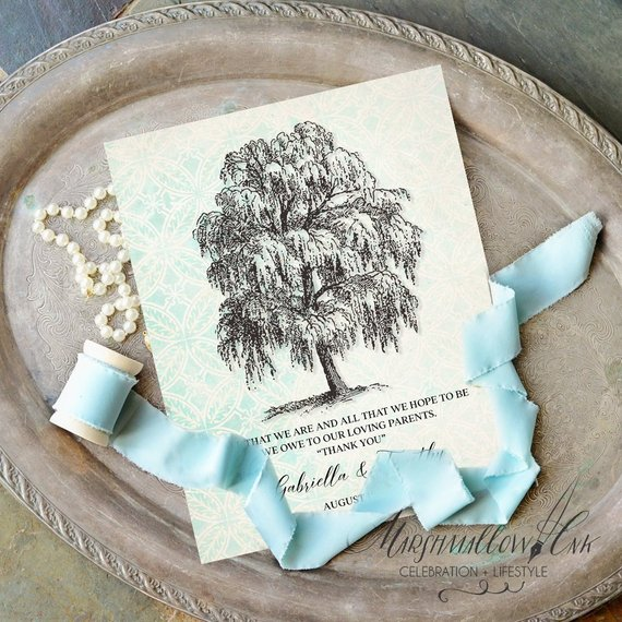 rustic tree drawing thank you gift