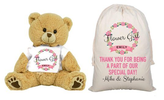 flower girl custom thank you bear