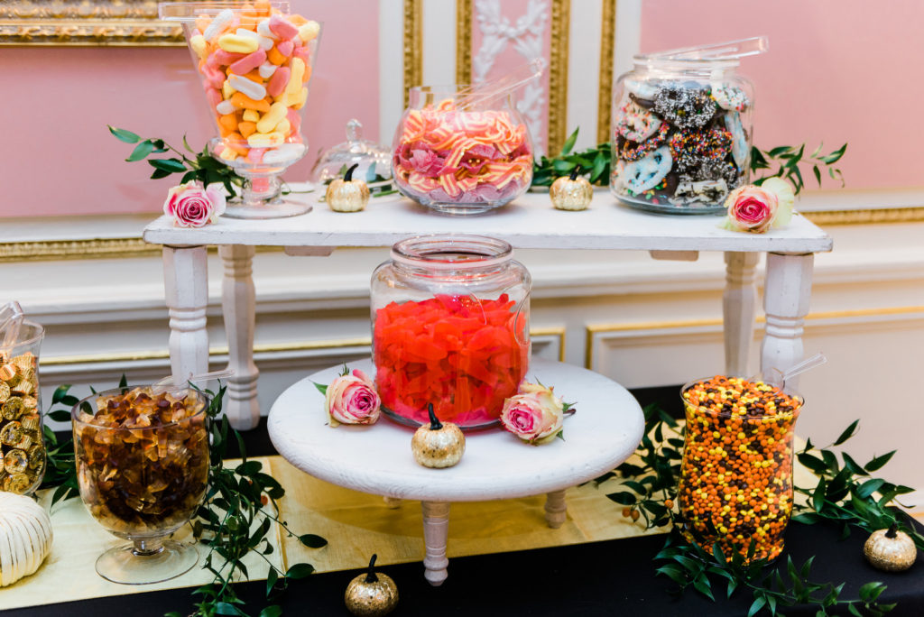 Serve a candy bar at your wedding to give guests sugary choices to choose from.