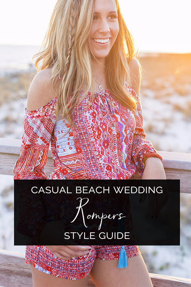 Slice Of Life Off The Shoulder Aztec Red Romper   What to Wear to a Casual Beach Wedding: Rompers