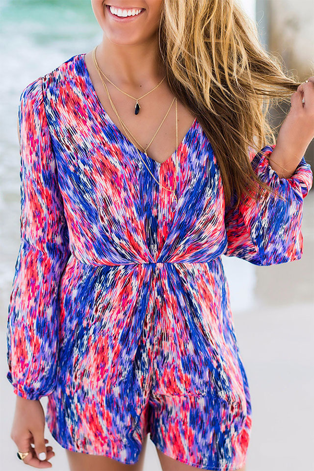 Under The Boardwalk Multi Color Long Sleeve Print Romper   What to Wear to a Casual Beach Wedding: Rompers