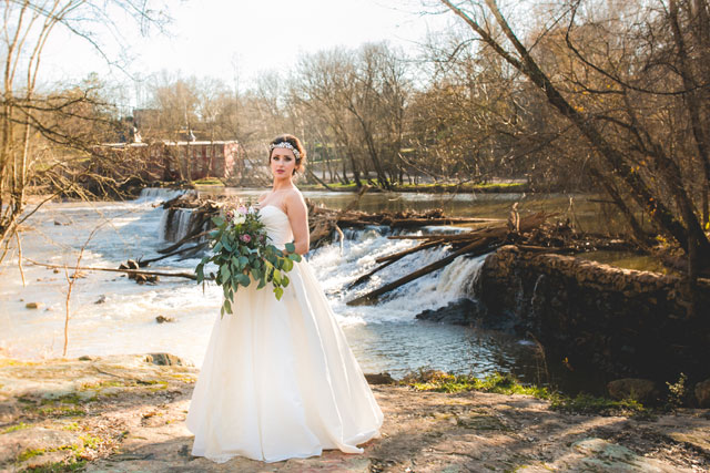 Feminine and edgy waterfall bridal portraits with a leather jacket and birdcage veil by Jessica Kait Photography