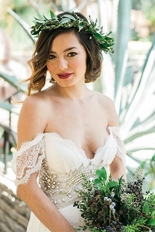 A gorgeous and romantic conservatory bridal inspiration shoot with rich tones of burgundy by Leila Karaze Photography