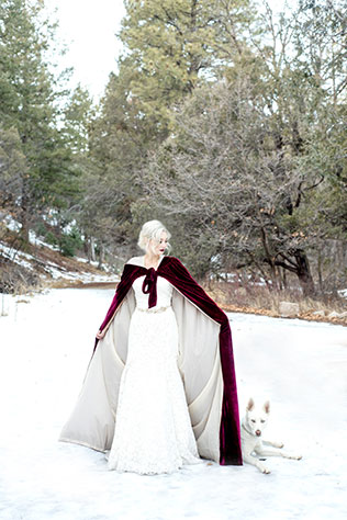 Snowy, winter Red Riding Hood inspired bridals with a gorgeous white Husky by Maura Jane Photography