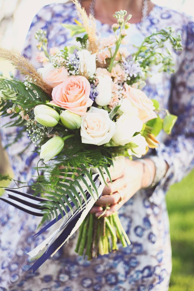 Free-spirited bohemian styled bridal portraits featuring a floral dress and Pantone's Rose Quartz and Serenity by Sarah Murray Photography