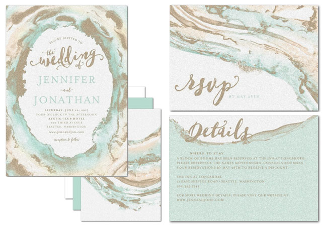 Waves of Love Invitation Suite | Sea Glass Chic Bridesmaid Style