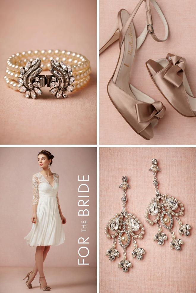 BHLDN Fashion For the Bride: Luna Bracelet, Lambent Knot Heels, Omari Dress & Cinematic Earrings