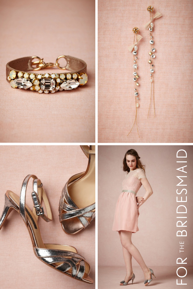 BHLDN Fashion For the Bridesmaid: Midnight Bracelet, Willowy Earrings, Supper Club Sandals & Sorbetto Dress