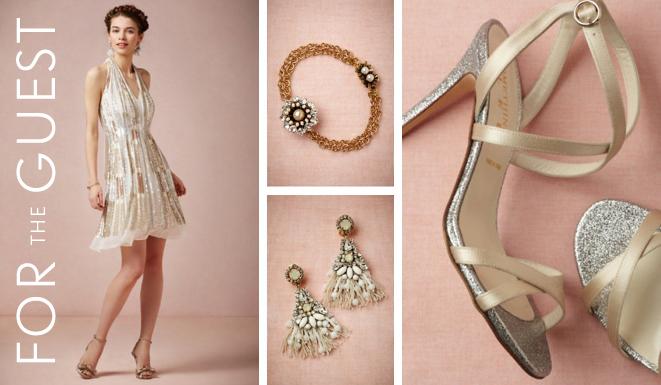 BHLDN Fashion For the Guest: Twila Halter Dress, Cupola Bracelet, Tasseled Chandeliers & Diamond-Dipped Heels
