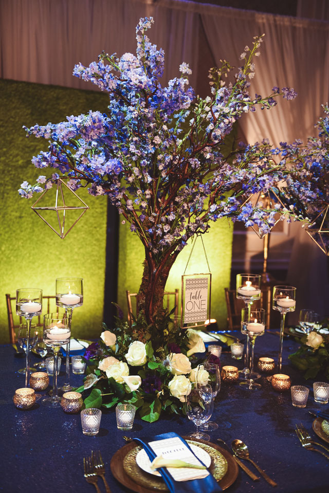 A stunning blue and green wedding inspiration shoot with dramatic lighting by 5 Rivers Studio and Sage Designs