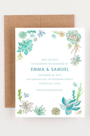 Watercolor Succulent Wedding Stationery | 5 Handmade Succulent Goodies to Include in Your Wedding