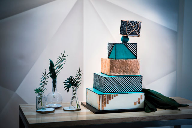 A modern wedding styled shoot at a contemporary art museum with geometric details, greenery and a gravity defying cake by Abigail Volkmann Photography