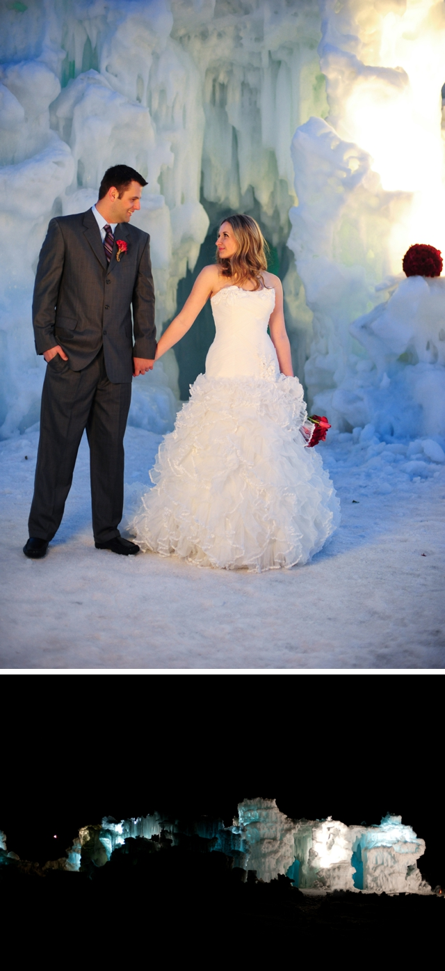 An ice castle styled shoot with red accents by Ali & Garrett Wedding Photographers || see more on blog.nearlynewlywed.com