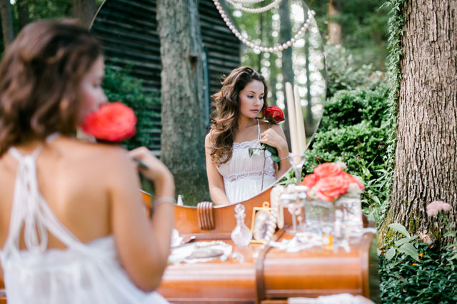 An intimate woodland-inspired styled shoot with an heirloom gown and accessories | Alex C Tenser Photography: http://www.alexctenser.com/