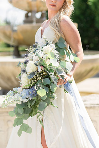 Styled after the age-old wedding tradition, this Something Blue inspired wedding features a lovely palette of soft pewter and sky blue by Alexandra Del Bello Photography