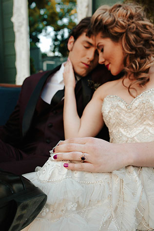 A jewel toned inspiration shoot featuring agate and a palette of ruby, sapphire, emerald and amethyst by Alexandria Monette Photography